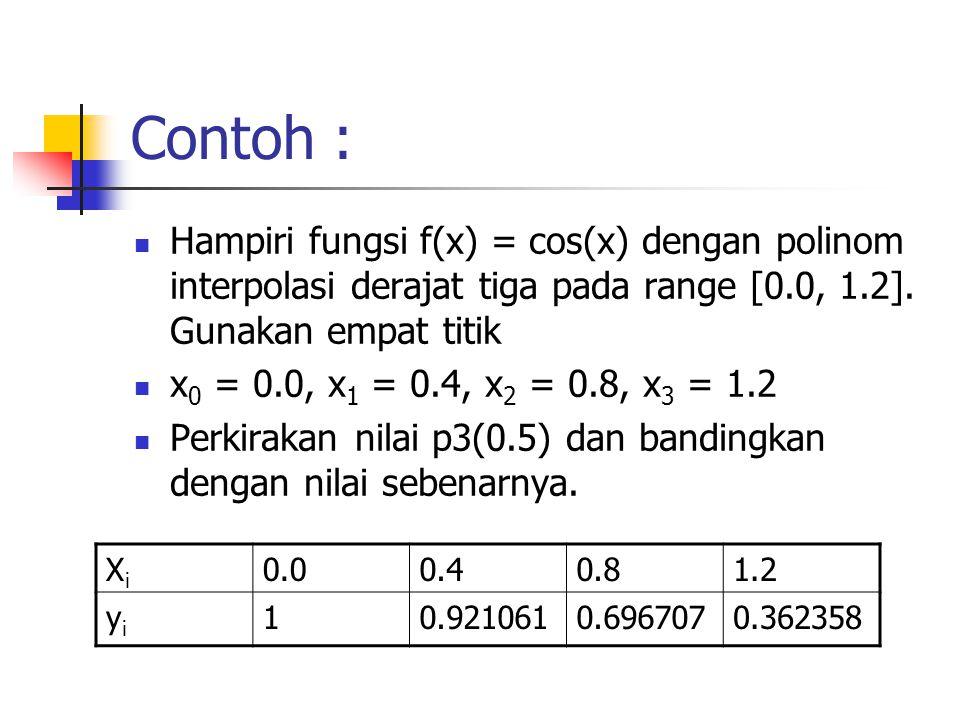 Contoh : Hampiri fungsi f(x) = cos(x) dengan polinom interpolasi derajat tiga pada range [0.0, 1.2]. Gunakan empat titik.